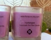 Hydrangea Scented Vegan Soy Wax Votive Candle Purple Cube Candle