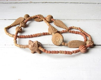 Vintage Beautiful Handmade Clay Necklace