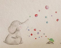 Bubble Buddies: Elephant & Turtle Original Watercolor Painting, ready to frame