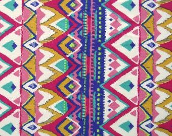 aztec print in bright multi colors cotton fabric - 1 yard - ctnp301