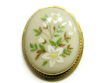 Painted Lenox Flower Brooch Daisy Flower Small Pendant Lenox Pin