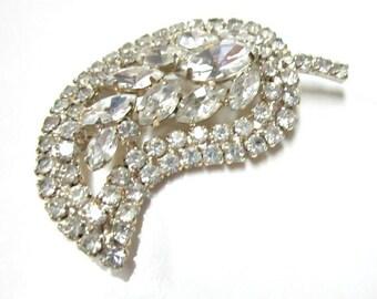 Vintage Rhinestone Leaf Clear White Brooch Big Vintage Wedding Pin Bridal Jewelry Formal Brooch Gift for Her