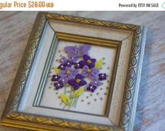 Vintage Purple Felt Flowers Framed, Lavender Violets, Miniature Artwork, Framed Flower Art, Tiny Art, Bedroom Decor, Vanity Framed Art