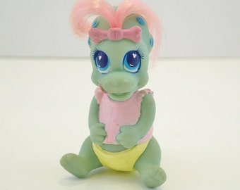 Darlin Dinos Baby Babies Pastel Triceratops miniature Darling Dinosaurs Figurines Figure Doll Brushable Hair Pastel Neon 90s 80s Retro Toys