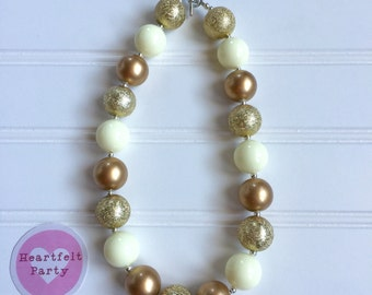 Gold Birthday Outfit - Girl Gold Birthday Necklace - Gold Bubblegum Necklace- Gold Chunky Necklace - Girl Necklace - Birthday Necklace