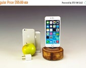 50% OFF Docking station for ANY iPhone including 6 and 6 plus.. Includes wall charger. 716++. Reclaimed log slice. Live edge. FAST shipping.
