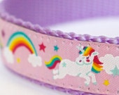 Unicorns and Rainbows Dog Collar, Pink Fairytale Pet Collar, Magical