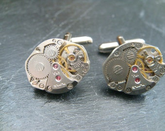 Watch Movement Cufflinks Ideal gift for the steampunk Fan, Genuine russian made watch movements