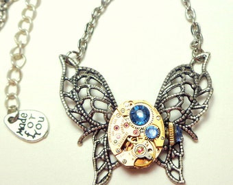 Steampunk Wings Necklace with Blue Swarovski Crystals, Neo Victorian Edwardian Fantasy,Ruby Jeweled, Rose Gold,Filigree Necklace
