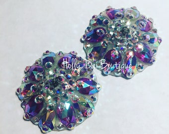 Lilac Aurora Rhinestone BURLESQUE couture pasties