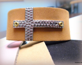Hammered Cross Leather Cuff Bracelet
