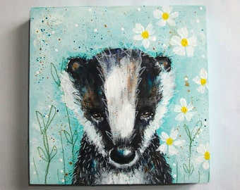 Original folk art badger painting mixed media art painting on wood canvas 6x6 inches - The badger in my daisies