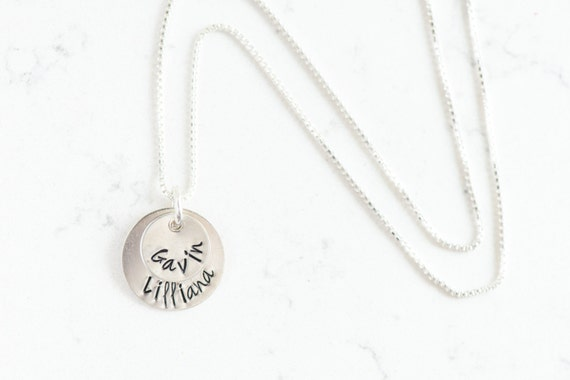 LAYERED -- Hand Stamped Sterling Silver Personalized Necklace for Mom, Grandma, Sister, Wife, Friend