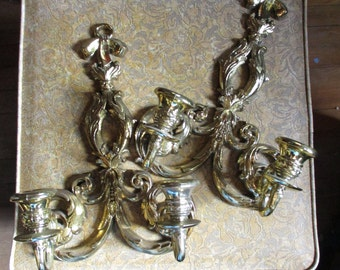 Pair Vtg 1996 Gold SYROCO Ornate Victorian Ribbon Bow Designs 2 Arm Leaf Scroll Candle Holder Wall SCONCES, Home Interiors