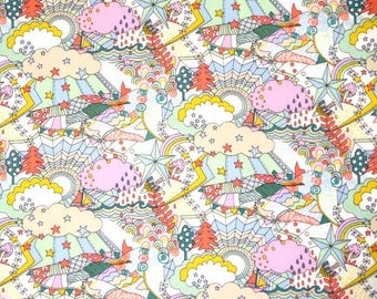 """Liberty tana lawn Land of Dreams ( The Garden of Dreams Series)  Stars , Rainbow and Crown  30cm or 11.8"""" length by 110c or 42"""" wideth"""