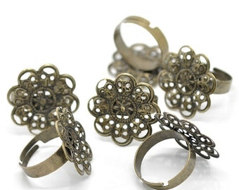 75% OFF - 20pcs WHOLESALE Adjustable Ring Blanks - Antique Bronze Filigree Flower Pad 23mm - Flower Ring Base - Thick Band