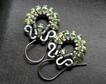 Lemon yellow beaded wire wrapped earrings, light yellow, light green, dangle hoops, oxidized copper, sterling silver, Mimi Michele Jewelry