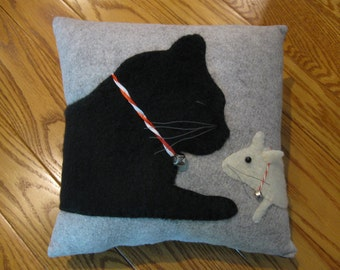 Merry Christmas Furry Kitty Cat and Mouse Pillow