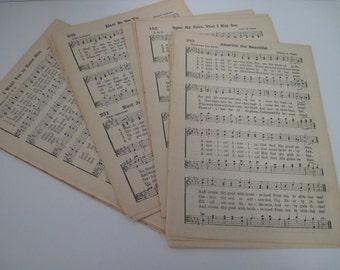 1941 Vintage Hymnal Music Paper - Bundle of 20 Pages