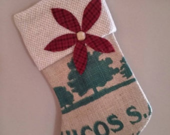 Christmas stocking from coffee bag burlap and vintage wool