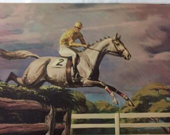 "Vintage Jumping  HORSE, jockey riding race horse, art print by Sam Savitt, Penn Prints New York 12"" x 15 3/4""  litho in USA, equine art"