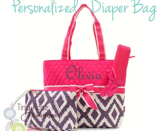 Personalized Diaper Bag -Hot Pink, Grey Ikat Monogrammed Baby Tote, Changing Pad, Mommy Bag