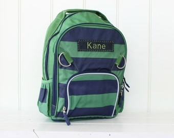 Large Green/Navy Rugby Stripe Backpack (Large Size) -- Pottery Barn
