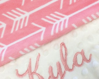 Arrow Blanket Personalized Baby Blanket Pink Arrow Baby Blanket with Dot Minky Back, Baby Shower gift, Christmas Gift