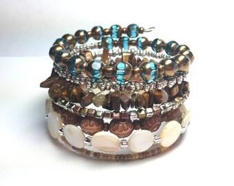 Wrap Memory Wire 7 row wrap Bracelet boho wrap bracelet copper, browns, tan colors