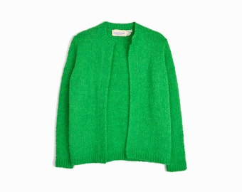 Vintage Green Boucle Sweater / Boucle Cardigan Sweater