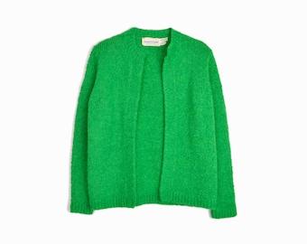 Vintage Shamrock Green Boucle Sweater / Boucle Cardigan Sweater / St Patrick's Day Fashion