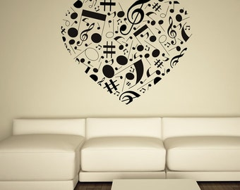 Music Note Heart Love----Removable Vinyl wall decals stickers home decor Kids Nursery,Birthday gift,Anniversary,Xmas,Wedding Gift