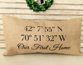 Longitude  Latitude | Housewarming Gift | New Home Gift | Personalized Burlap Pillow - Insert Included -  FREE SHIPPING