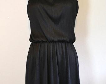 SUMMER HEAT SALE Sale Vintage 1970s Silky Black Dress with Jacket