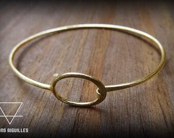 Bracelet laiton avec ovale # brass bracelet
