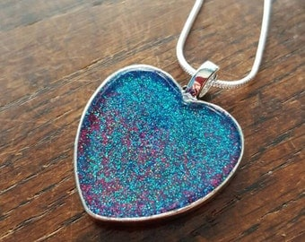 Hot Pink and Teal glitter Pendant, sparkly, glittery, party, bridal, hen, gift occasion jewellery, comes with 16 inch chain