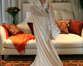 Bridal Silk Robe Champagne Chiffon Bridal Lingerie Wedding Robe Bridal Robe French Versailles Lace Bridal Sleepwear Wedding Sleepwear