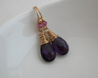 Amethyst Quartz Drop Earrings