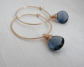 Deep Blue Quartz Hoop Earrings