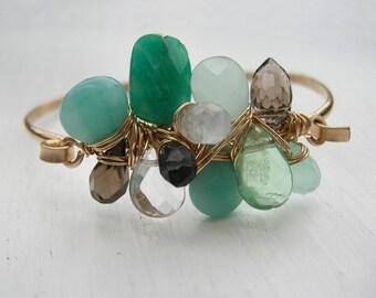 Green Scene, Gem Cluster Cuff Bracelet