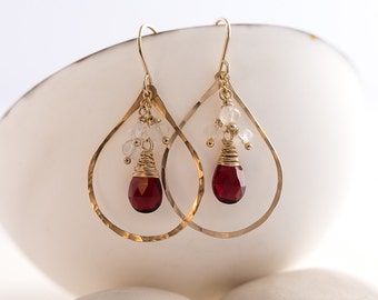 Ruby Quartz and Moonstone Chandelier Hoops