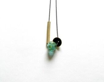 Brass Modern Necklace-Oxidized Brass Necklace-Resin Bead Necklace-Resin Modern Necklace-Contemporary Jewellery-Turquoise Resin Necklace