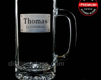 Wedding Gifts for Groomsman Best Man - RECTANGLE CREST Etched BEER Mugs - 16 oz Etched Glass Wedding Beer Mugs - Ships to Canada