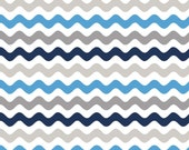 Blue and Gray Wave or Zig Zag Cotton Fabric in 4th, Half 3/4 and Yard by Riley Blake for Quilting/ Sewing/  Applique/ Craft Sewing