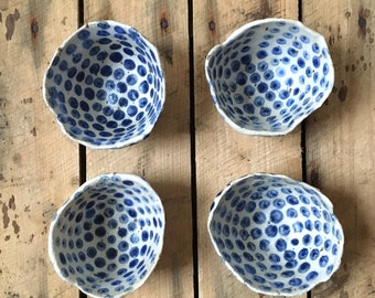 RESERVED Polka dots Farmhouse style bowls, Gift for her bowl, Tapas bowls, Unique jewelry bowls, Blue white serving, Blue white pottery gift