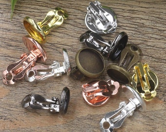 50 Brass Clip-on Earring Bronze/ Silver/ Gold/ Rose Gold/ White Gold/ Gunmetal Plated 10mm/ 12mm/ 14mm/ 16mm/ 18mm Round Bezel Cup- Z5551