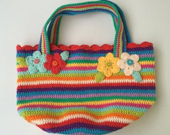 Colorful Crochet Bag - Multi-Colored Tote -Cotton Tote -  Ready To Ship