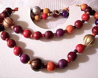 Wood Carved Necklace Beads Gold Tone Vintage Round Assorted Colors