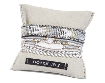 Pastel blue bracelet - handwoven bead loom bracelet - multiple strands beaded bracelet with motherh of pearl shell bead and chevron chain