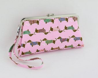 Pink Dachshund Large Frame Clutch with Wristlet Strap ( Limited Edition )